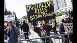 Tensions high outside Trump speech in Silicon Valley
